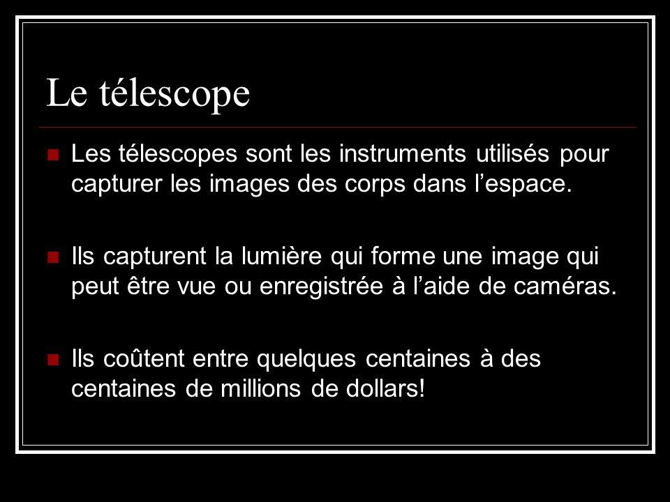 Le télescope Les télescopes sont les instruments utilisés pour capturer les images des corps dans lespace.