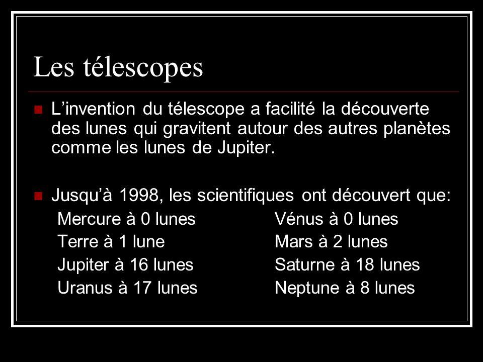 Les télescopes Linvention du télescope a facilité la découverte des lunes qui gravitent autour des autres planètes comme les lunes de Jupiter. Jusquà