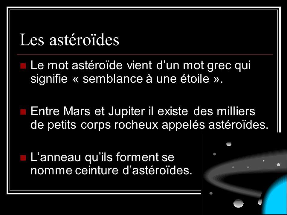 Les astéroïdes Le mot astéroïde vient dun mot grec qui signifie « semblance à une étoile ». Entre Mars et Jupiter il existe des milliers de petits cor