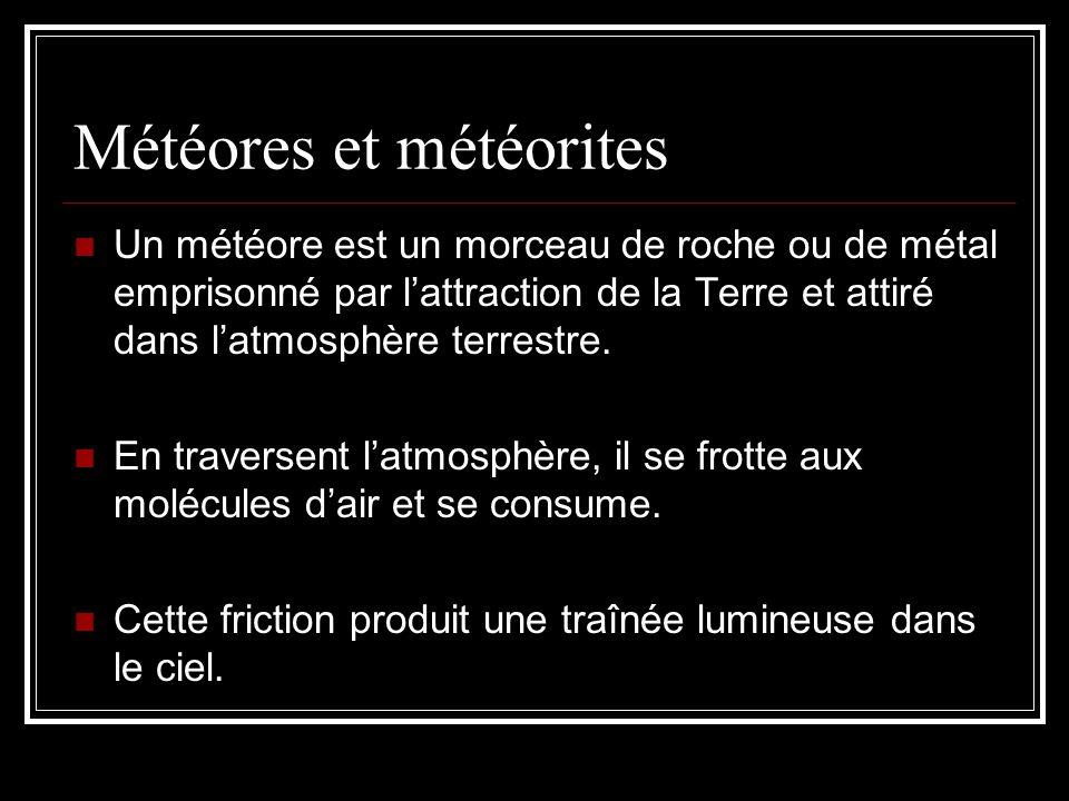 Météores et météorites Un météore est un morceau de roche ou de métal emprisonné par lattraction de la Terre et attiré dans latmosphère terrestre.