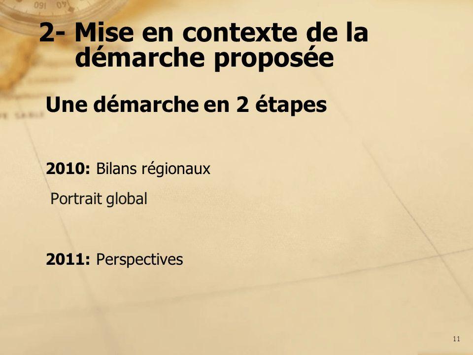 2- Mise en contexte de la démarche proposée Une démarche en 2 étapes 2010: Bilans régionaux Portrait global 2011: Perspectives 11