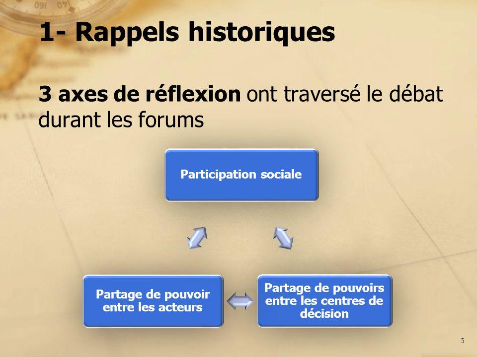 1- Rappels historiques 3 axes de réflexion ont traversé le débat durant les forums 5 Participation sociale Partage de pouvoirs entre les centres de dé