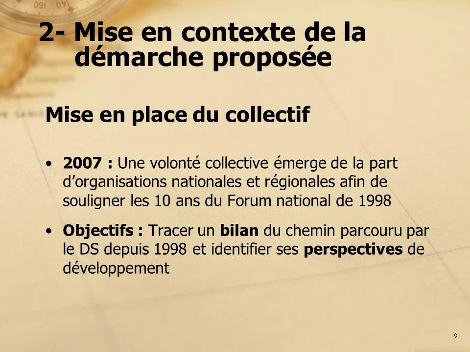 2- Mise en contexte de la démarche proposée 2 choix du collectif 1.Centrer la démarche de bilan sur les orientations des comités régionaux mis en place dans la foulée du Forum de 1998 2.