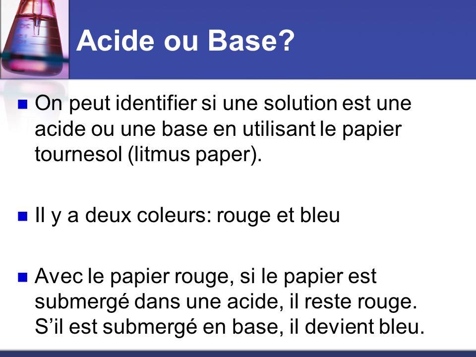 Acide ou Base? On peut identifier si une solution est une acide ou une base en utilisant le papier tournesol (litmus paper). Il y a deux coleurs: roug