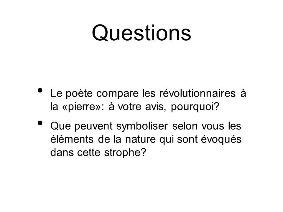 Questions Le poète compare les révolutionnaires à la «pierre»: à votre avis, pourquoi? Que peuvent symboliser selon vous les éléments de la nature qui