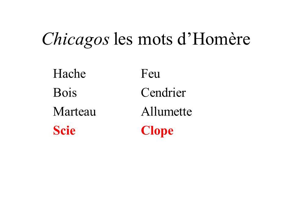 Chicagos les mots dHomère HacheFeu BoisCendrier MarteauAllumette ScieClope