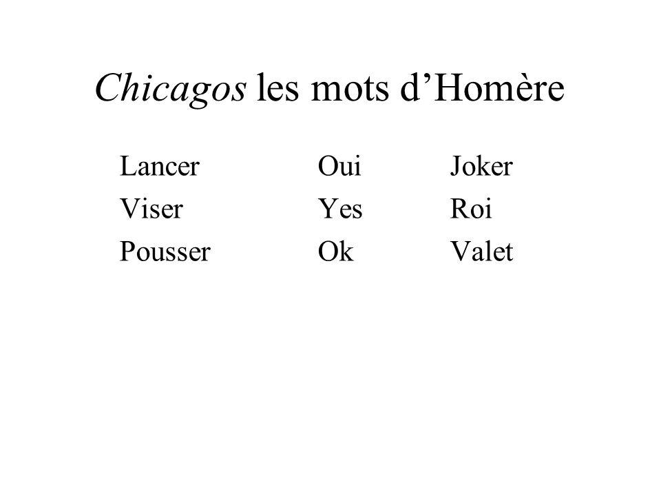 Chicagos les mots dHomère LancerOuiJoker ViserYesRoi PousserOkValet