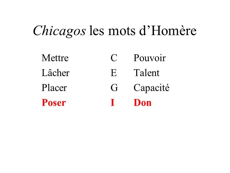 Chicagos les mots dHomère MettreCPouvoir LâcherETalent PlacerGCapacité PoserIDon