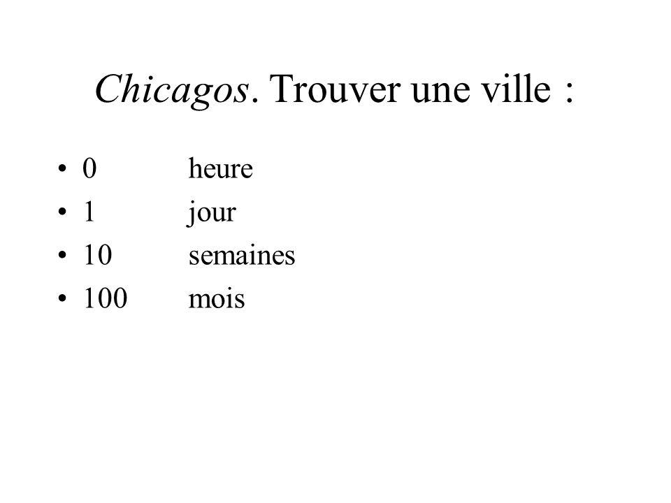 Chicagos. Trouver une ville : 0heure 1jour 10semaines 100mois 1000ans