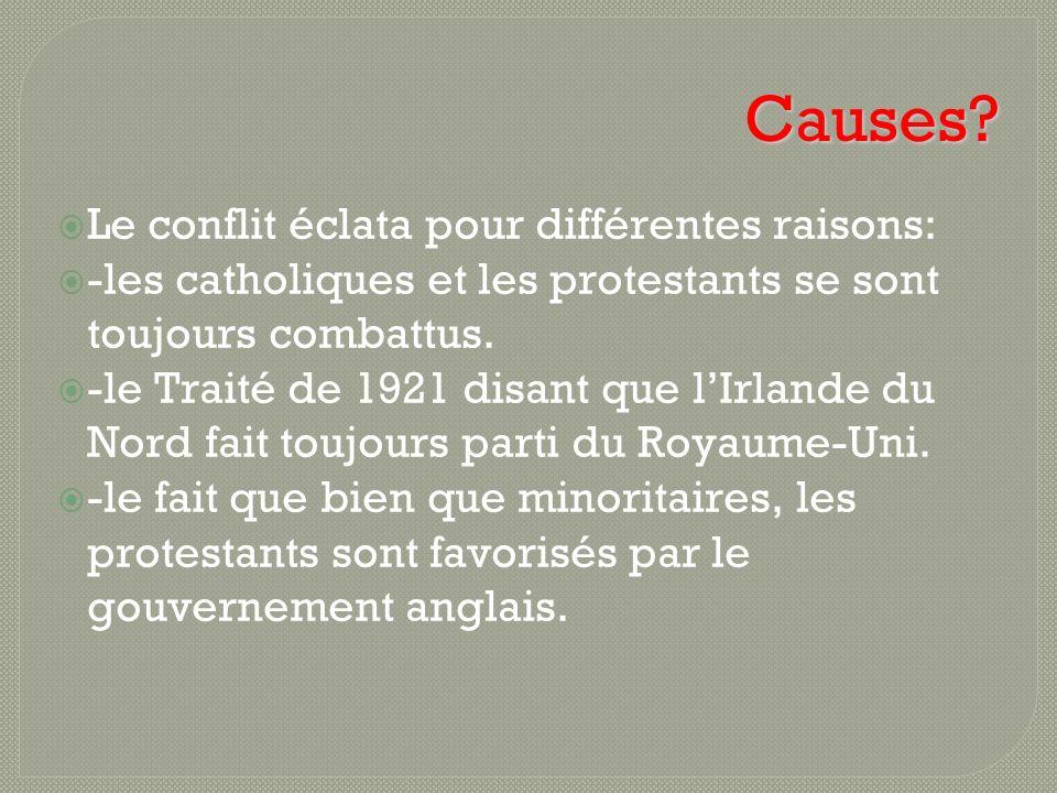 Causes? Le conflit éclata pour différentes raisons: -les catholiques et les protestants se sont toujours combattus. -le Traité de 1921 disant que lIrl