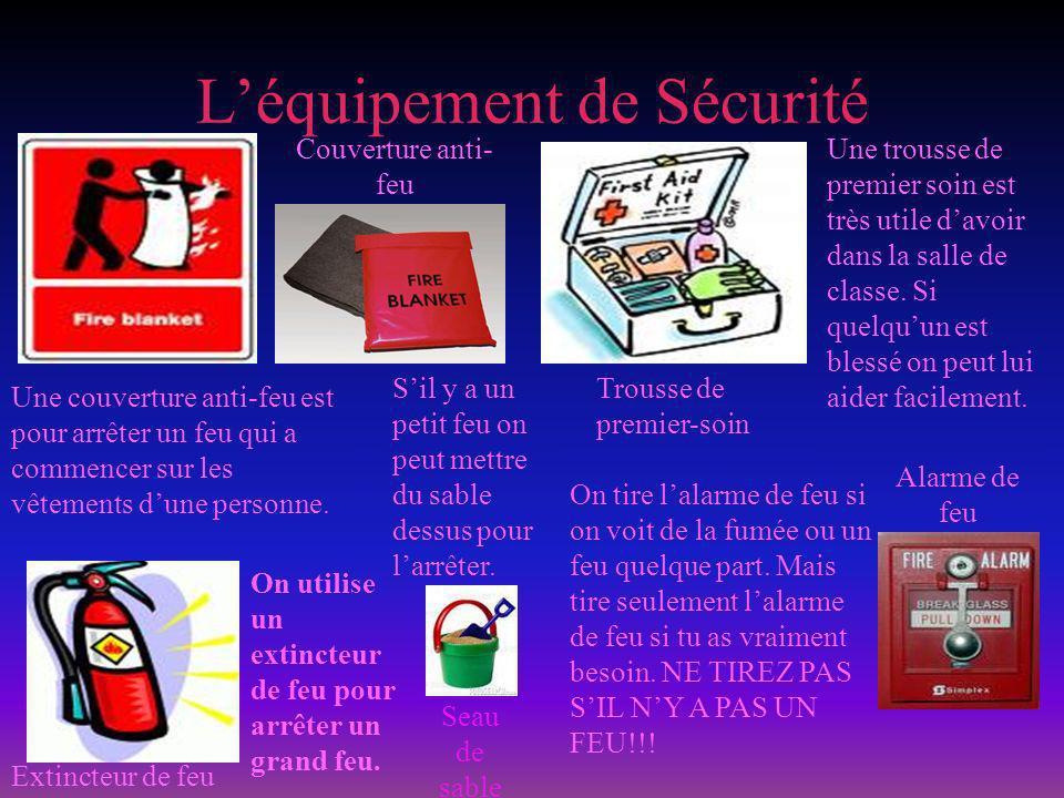Léquipement de Sécurité Extincteur de feu Couverture anti- feu On utilise un extincteur de feu pour arrêter un grand feu.