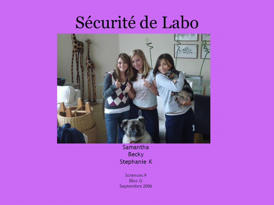 Sécurité de Labo Samantha Becky Stephanie K Sciences 9 Bloc G Septembre 2006