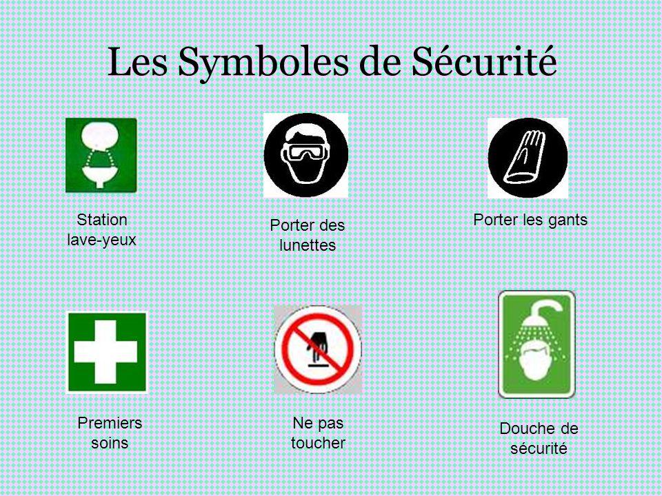 Les Symboles de Sécurité Station lave-yeux Porter des lunettes Porter les gants Douche de sécurité Premiers soins Ne pas toucher