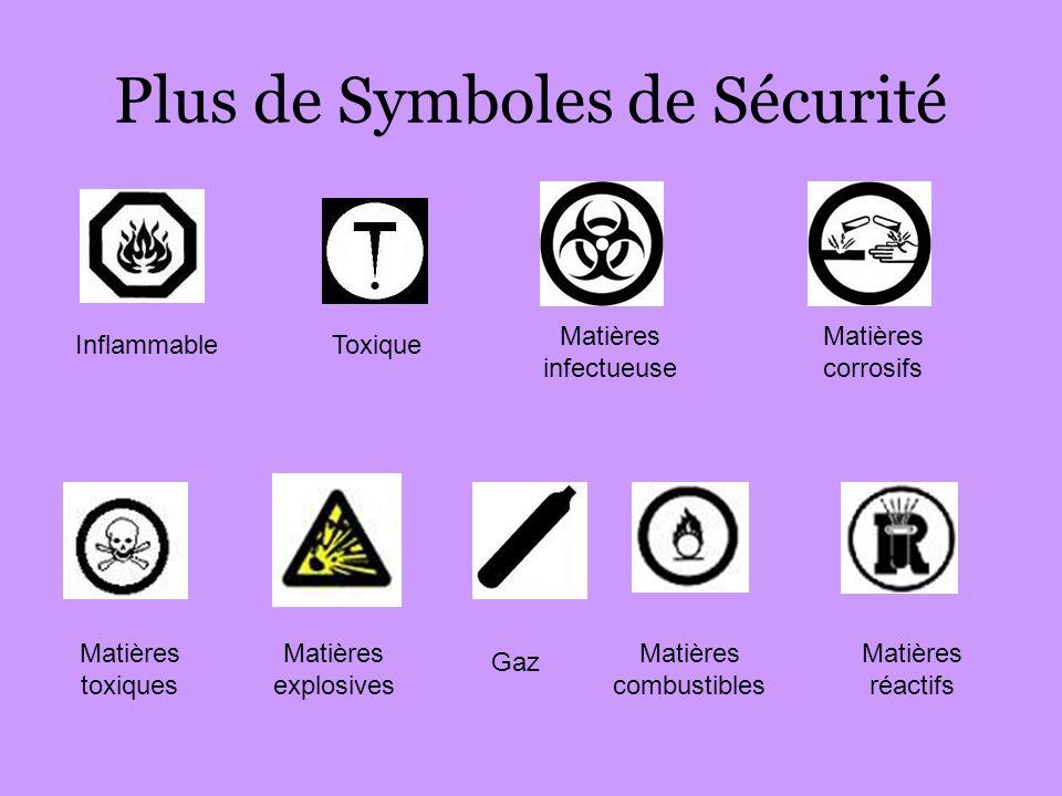 Plus de Symboles de Sécurité InflammableToxique Matières infectueuse Matières corrosifs Matières toxiques Matières explosives Gaz Matières combustible