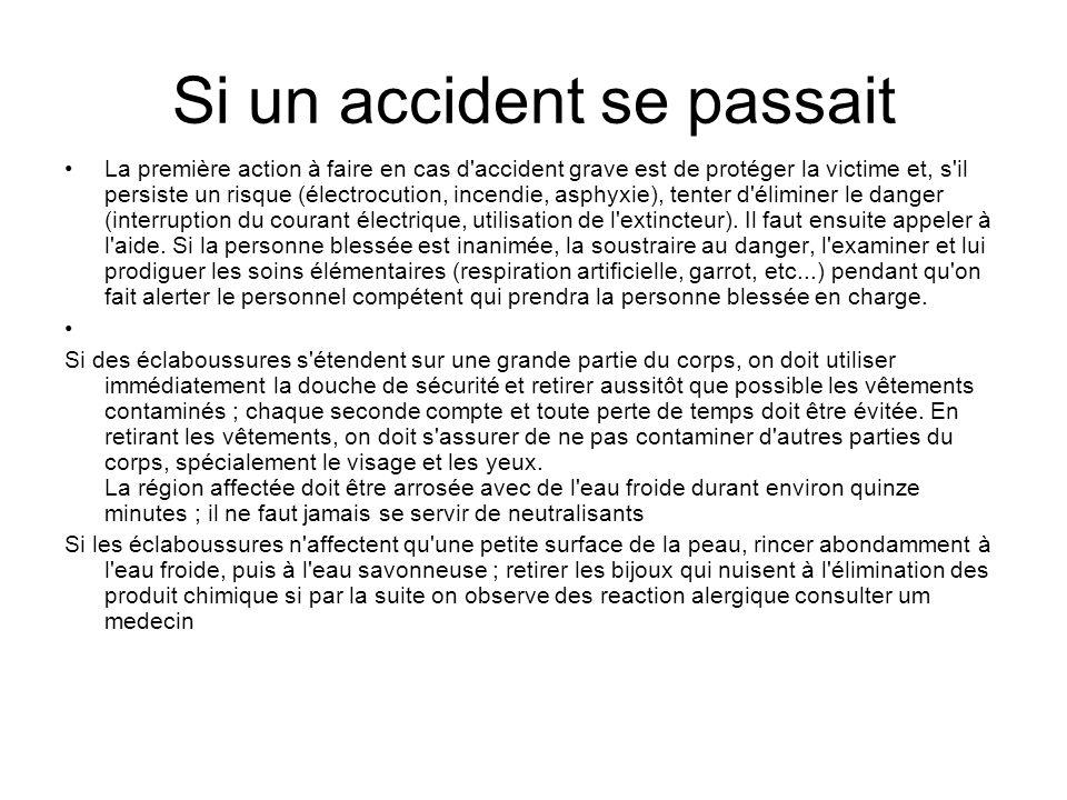 Si un accident se passait La première action à faire en cas d'accident grave est de protéger la victime et, s'il persiste un risque (électrocution, in