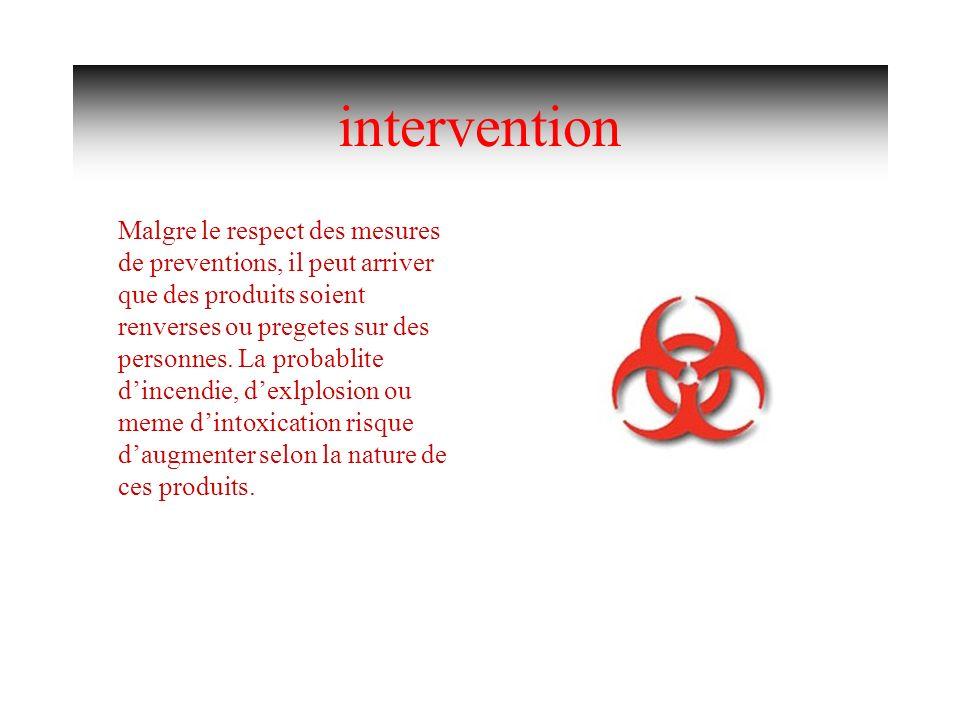 intervention Malgre le respect des mesures de preventions, il peut arriver que des produits soient renverses ou pregetes sur des personnes. La probabl
