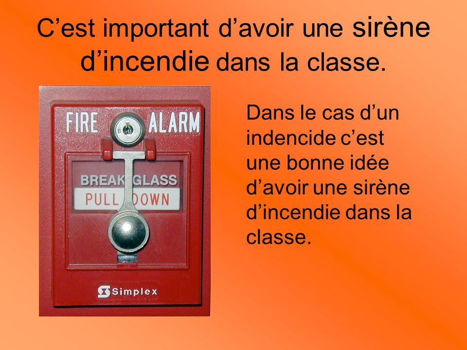 Extincteur Dans le cas ou il y a un indencide dans la classe cest une bonne idée davoir un extincteur de feu dans la classe.
