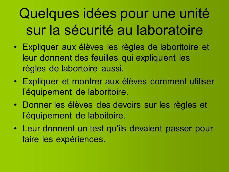 Guide de Professeur – La Sécurité au labo Dans les diapositives suivants on vous explique comment éduquer votre classe à propos de la sécurité au labo