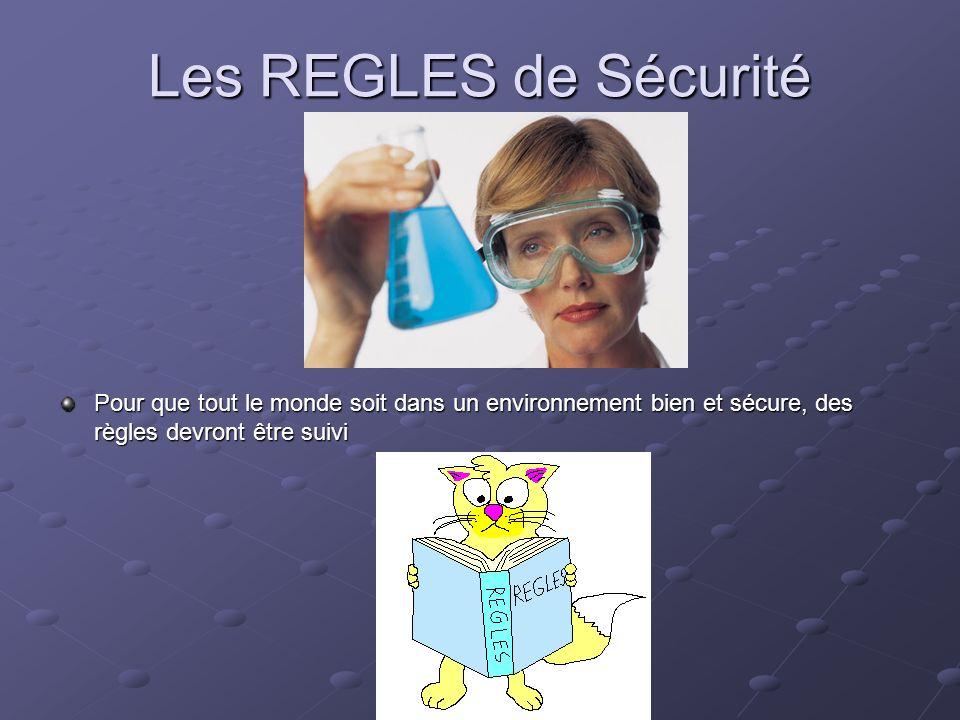 Les REGLES de Sécurité Pour que tout le monde soit dans un environnement bien et sécure, des règles devront être suivi
