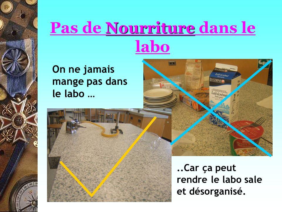 Nourriture Pas de Nourriture dans le labo On ne jamais mange pas dans le labo …..Car ça peut rendre le labo sale et désorganisé.