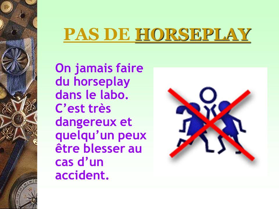 HORSEPLAY PAS DE HORSEPLAY On jamais faire du horseplay dans le labo. Cest très dangereux et quelquun peux être blesser au cas dun accident.