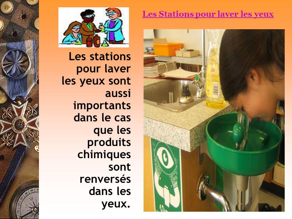 Les stations pour laver les yeux sont aussi importants dans le cas que les produits chimiques sont renversés dans les yeux. Les Stations pour laver le