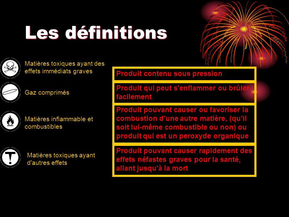 Les définitions Matières toxiques ayant des effets immédiats graves Produit contenu sous pression Gaz comprimés Produit qui peut s'enflammer ou brûler