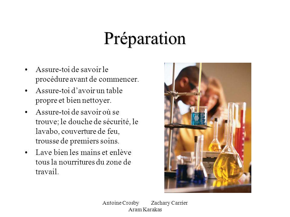 Antoine Crosby Zachary Carrier Aram Karakas Préparation Assure-toi de savoir le procédure avant de commencer. Assure-toi davoir un table propre et bie