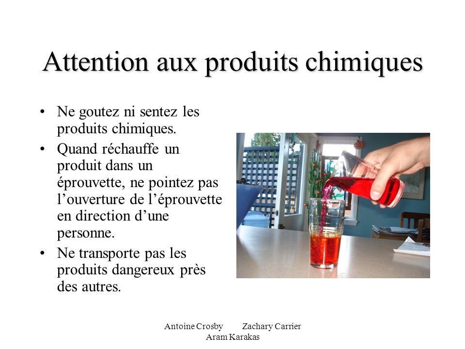 Antoine Crosby Zachary Carrier Aram Karakas Attention aux produits chimiques Ne goutez ni sentez les produits chimiques. Quand réchauffe un produit da