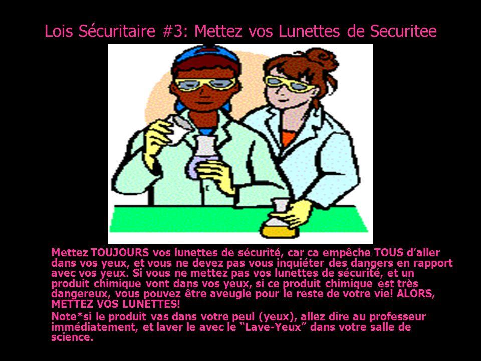 Lois Sécuritaire #3: Mettez vos Lunettes de Securitee Mettez TOUJOURS vos lunettes de sécurité, car ca empêche TOUS daller dans vos yeux, et vous ne d
