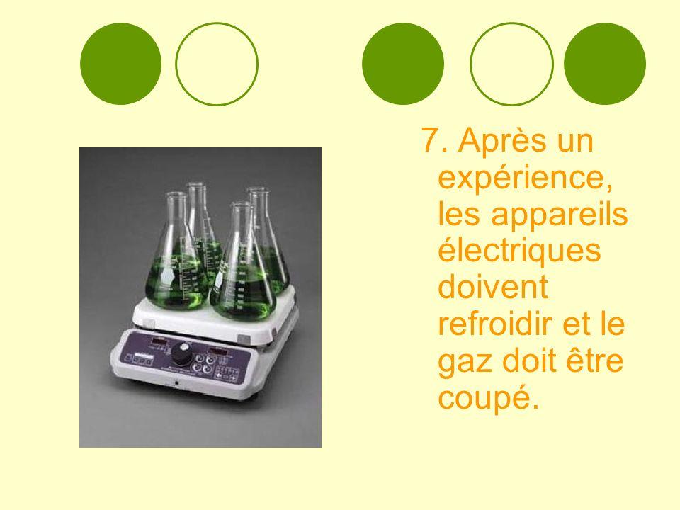 7. Après un expérience, les appareils électriques doivent refroidir et le gaz doit être coupé.
