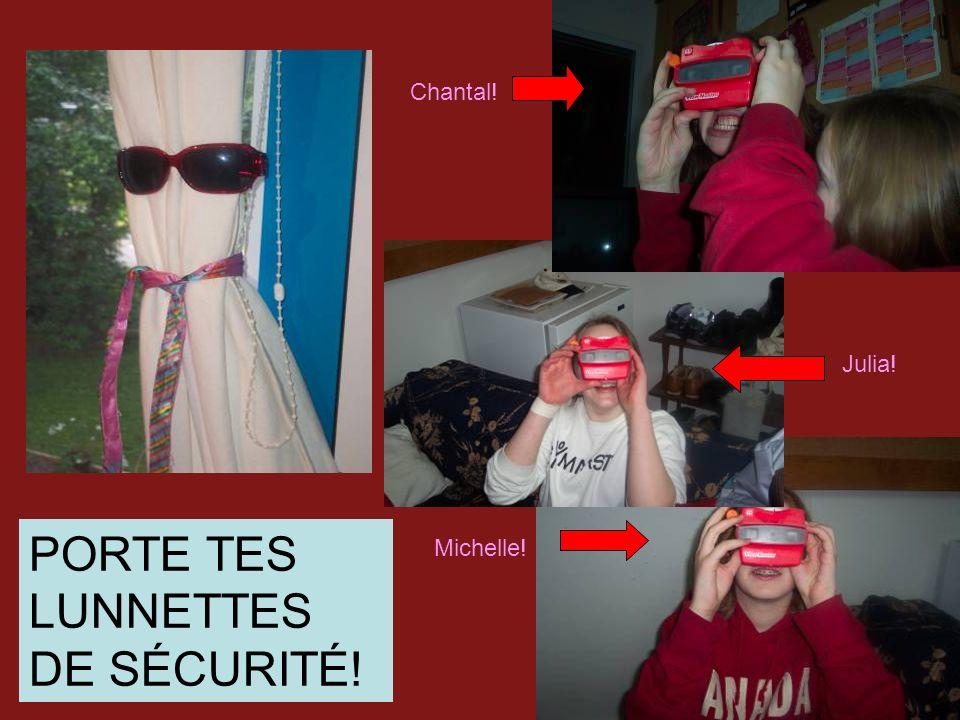 Parce que….Si vous ne portez pas tes lunettes de sécurité, les produits chimiques peuvent entrez dans tes yeux, et tu peut devenir aveugle… mais SI les produits chimique se rend dans tes yeux lave les avec le lave-yeux et avertis le prof!!!!