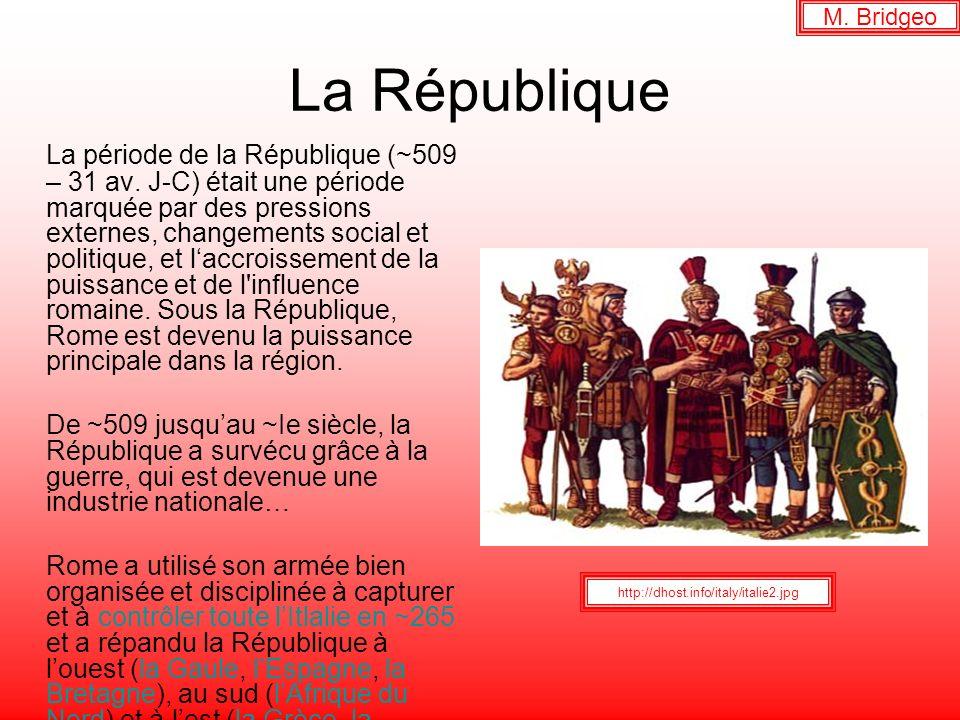 La République La période de la République (~509 – 31 av. J-C) était une période marquée par des pressions externes, changements social et politique, e
