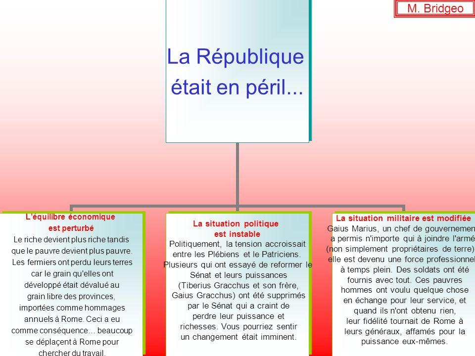 M. Bridgeo La République était en péril... Léquilibre économique est perturbé Le riche devient plus riche tandis que le pauvre devient plus pauvre. Le