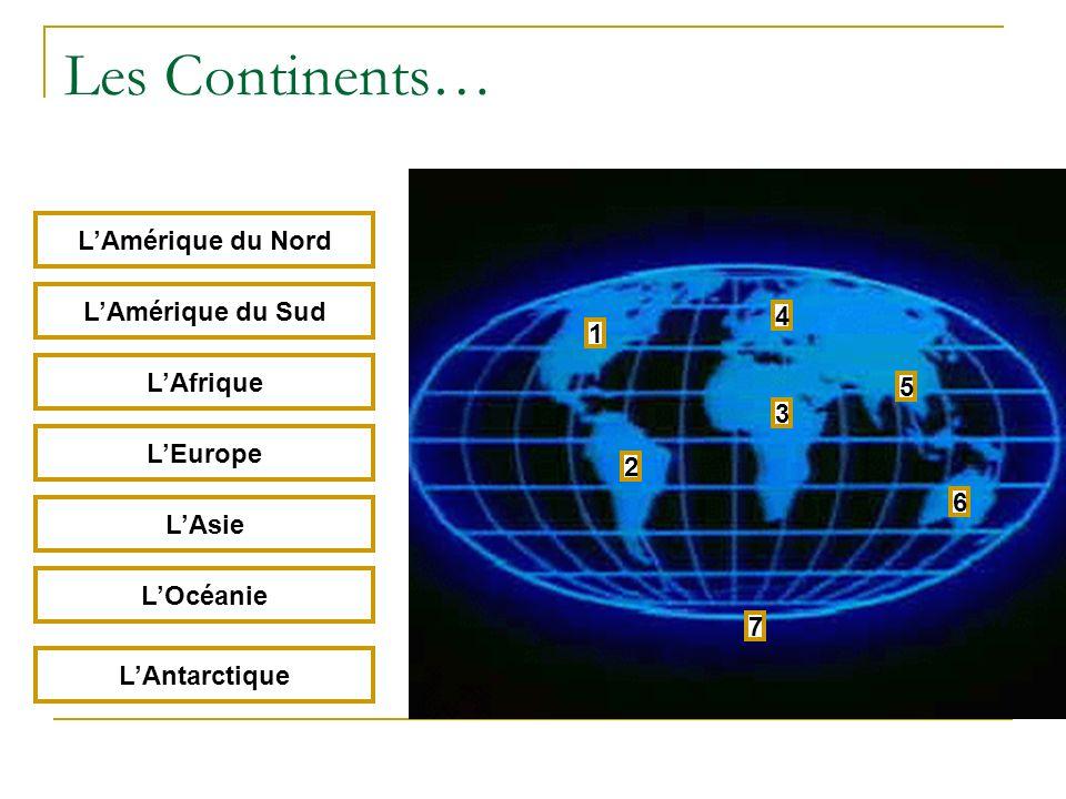 Les Continents… 1 2 3 4 5 6 7 LAmérique du Nord LAmérique du Sud LAfrique LEurope LAsie LOcéanie LAntarctique