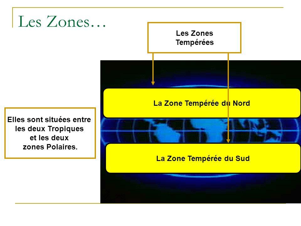 Les Zones… EIles sont situées entre les deux Tropiques et les deux zones Polaires. La Zone Tempérée du Nord La Zone Tempérée du Sud Les Zones Tempérée