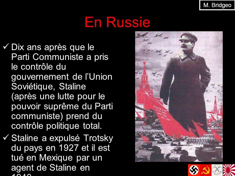 En Russie Dix ans après que le Parti Communiste a pris le contrôle du gouvernement de lUnion Soviétique, Staline (après une lutte pour le pouvoir suprême du Parti communiste) prend du contrôle politique total.