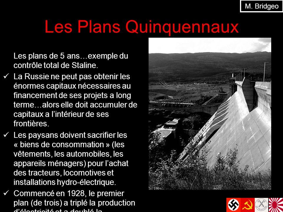 Les Plans Quinquennaux Les plans de 5 ans…exemple du contrôle total de Staline. La Russie ne peut pas obtenir les énormes capitaux nécessaires au fina