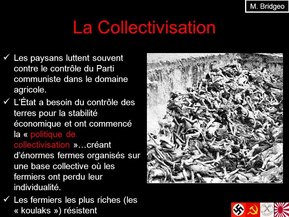 La Collectivisation Les paysans luttent souvent contre le contrôle du Parti communiste dans le domaine agricole. LÉtat a besoin du contrôle des terres