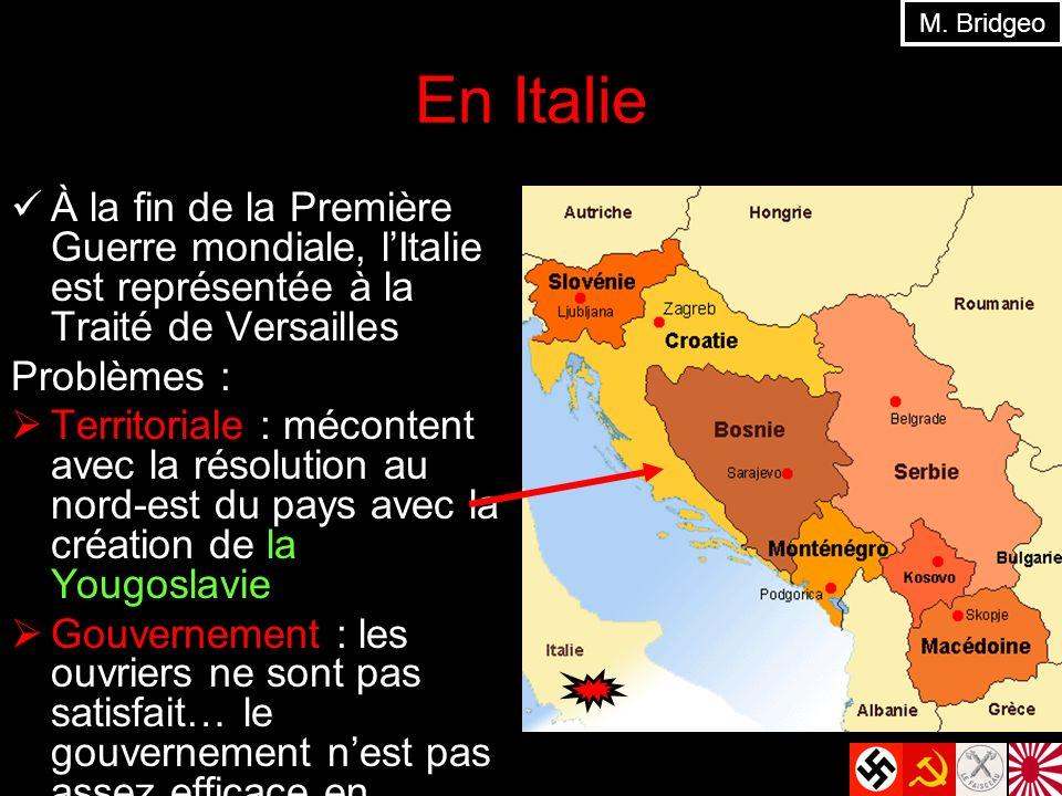 En Italie À la fin de la Première Guerre mondiale, lItalie est représentée à la Traité de Versailles Problèmes : Territoriale : mécontent avec la réso