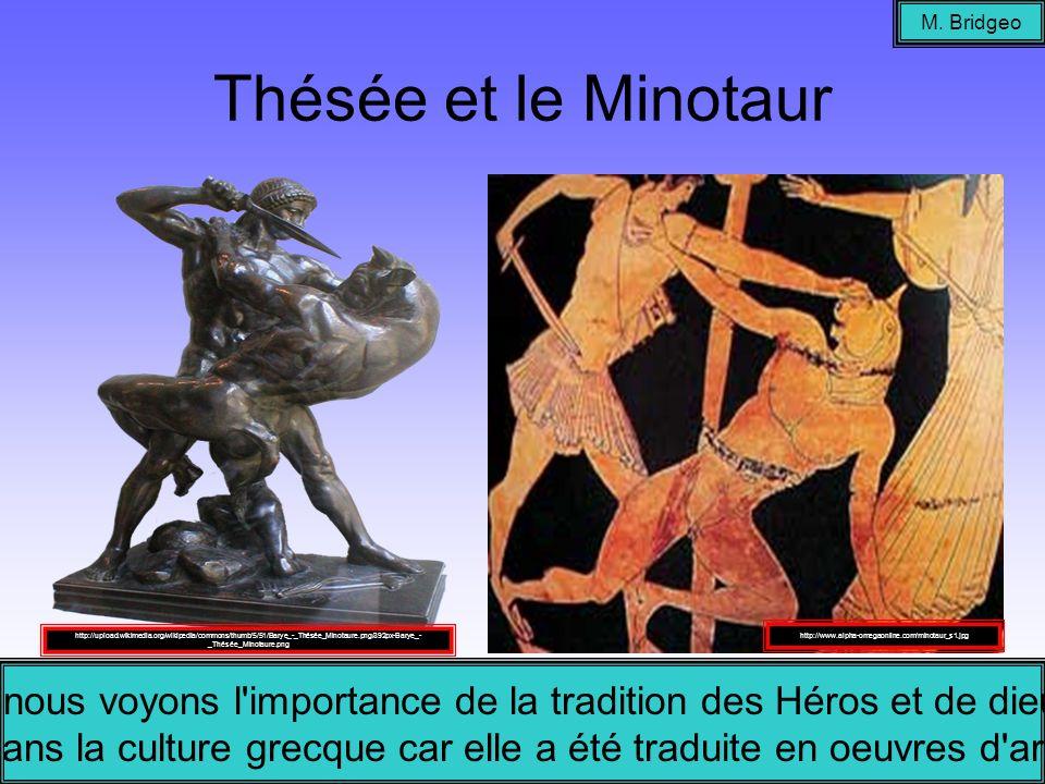 Thésée et le Minotaur M. Bridgeo Ici nous voyons l'importance de la tradition des Héros et de dieux dans la culture grecque car elle a été traduite en