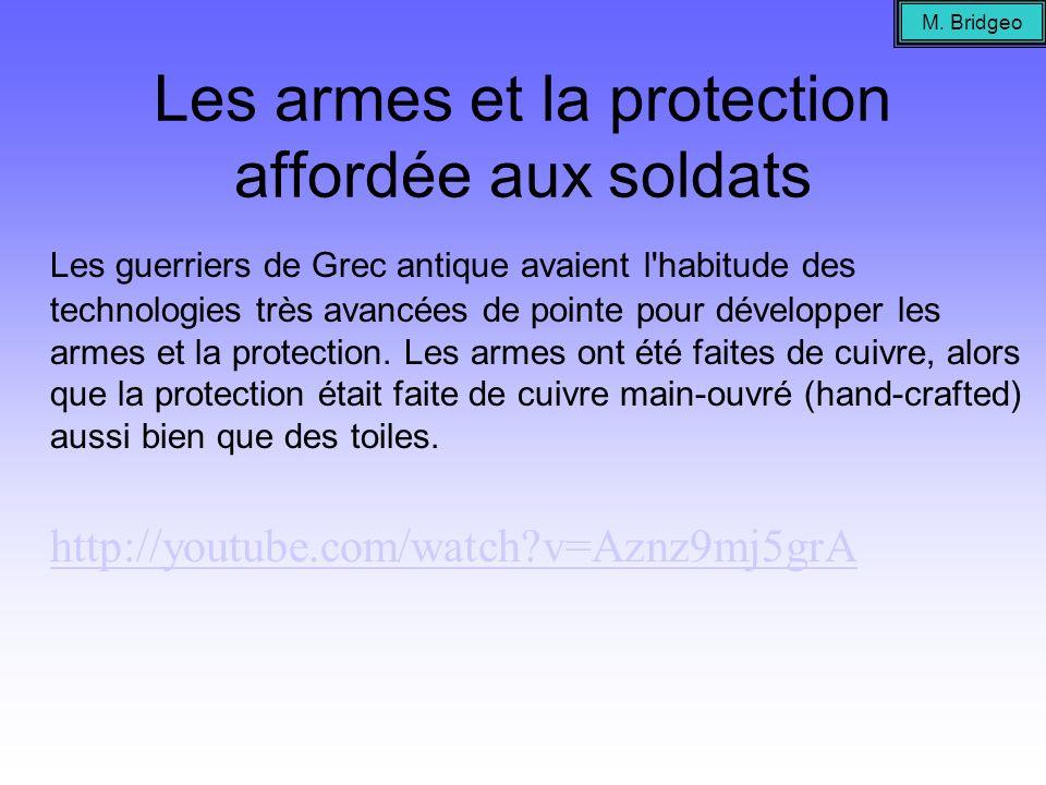 Les armes et la protection affordée aux soldats Les guerriers de Grec antique avaient l'habitude des technologies très avancées de pointe pour dévelop