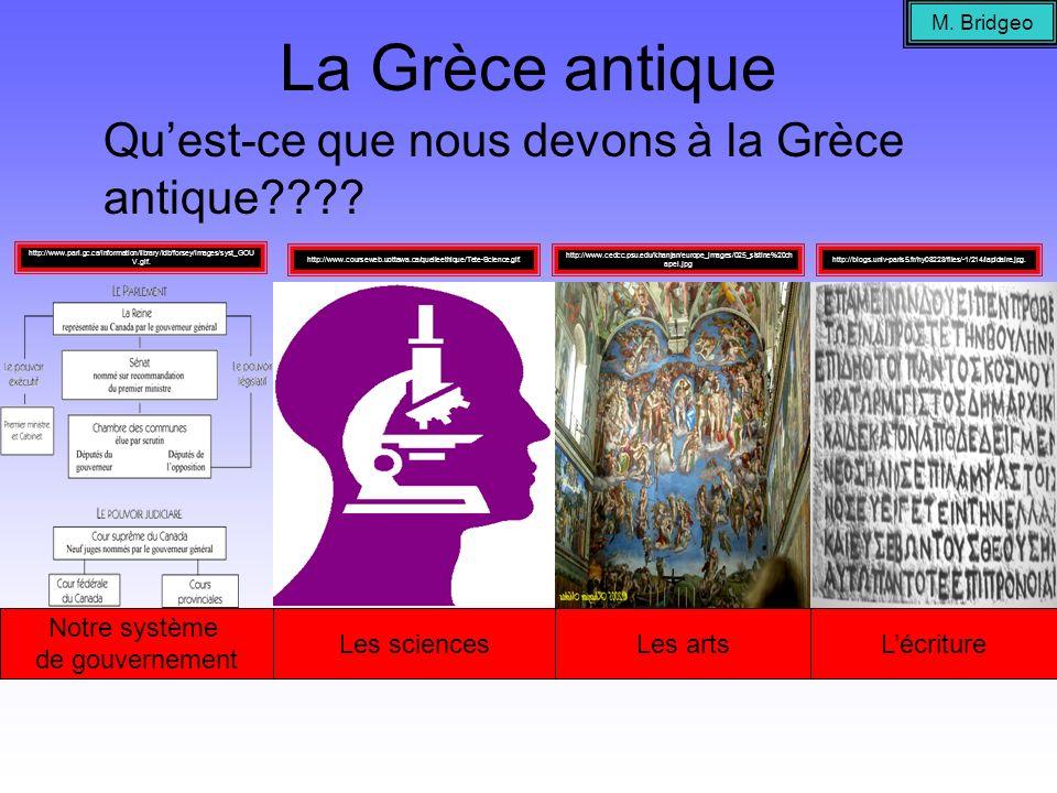 La Grèce antique Quest-ce que nous devons à la Grèce antique???? Notre système de gouvernement Les sciencesLes artsLécriture M. Bridgeo http://www.par