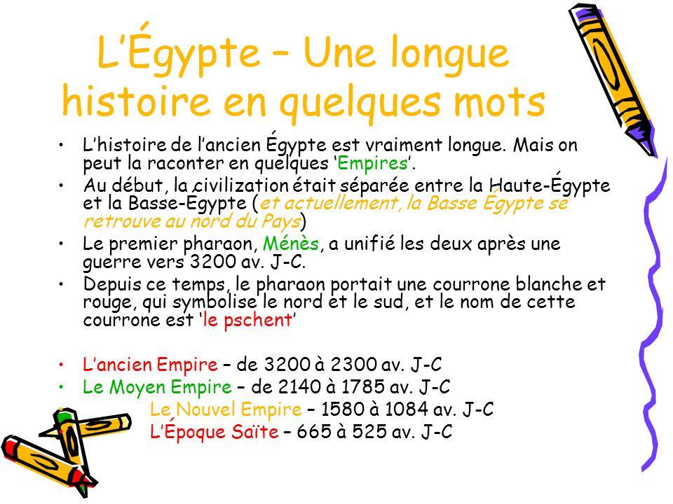 LÉgypte – Une longue histoire en quelques mots Lhistoire de lancien Égypte est vraiment longue.