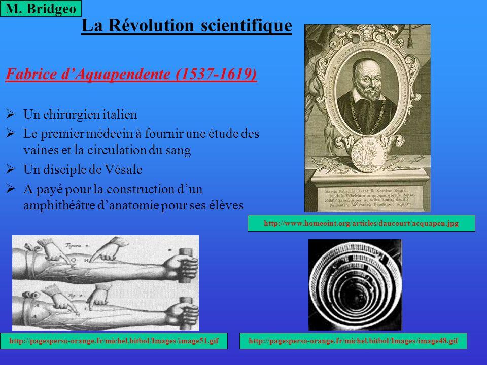 La Révolution scientifique Fabrice dAquapendente (1537-1619) Un chirurgien italien Le premier médecin à fournir une étude des vaines et la circulation