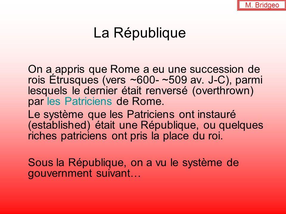 La République On a appris que Rome a eu une succession de rois Étrusques (vers ~600- ~509 av. J-C), parmi lesquels le dernier était renversé (overthro