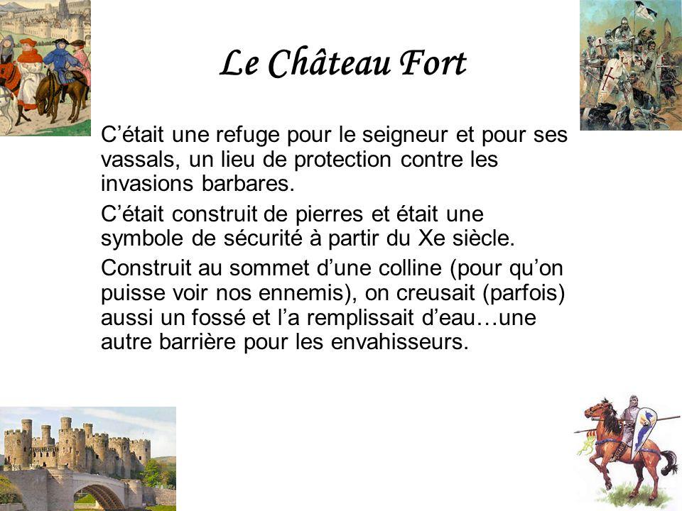 Le Château Fort Cétait une refuge pour le seigneur et pour ses vassals, un lieu de protection contre les invasions barbares. Cétait construit de pierr