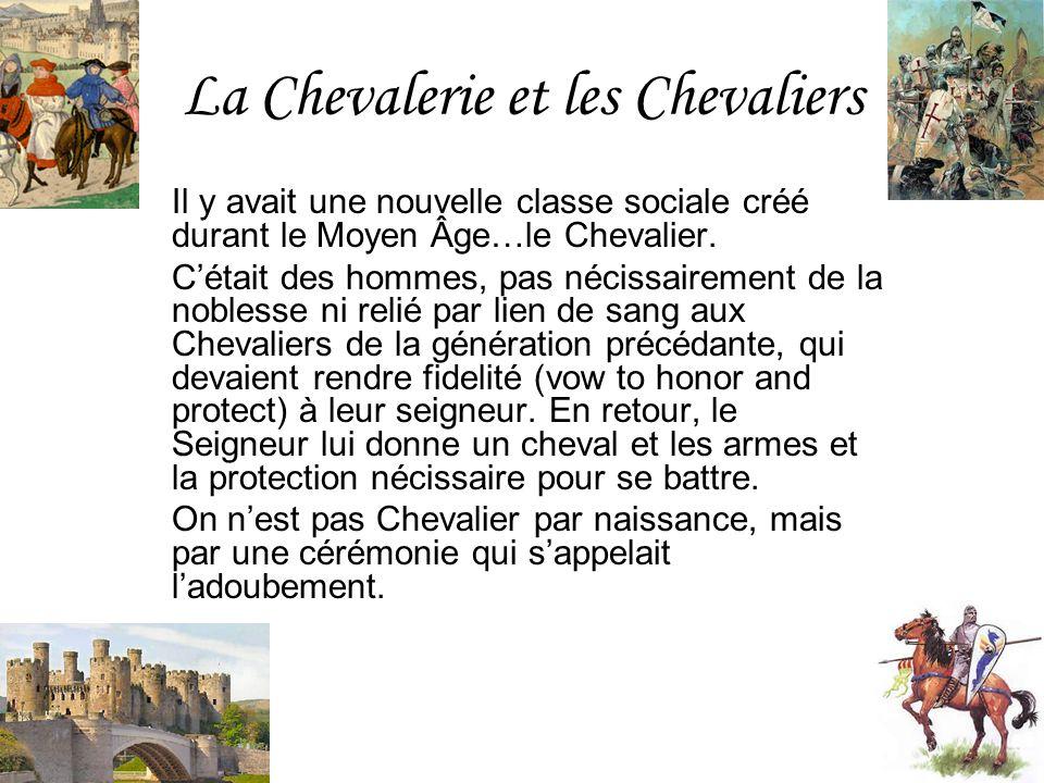 La Chevalerie et les Chevaliers Il y avait une nouvelle classe sociale créé durant le Moyen Âge…le Chevalier. Cétait des hommes, pas nécissairement de