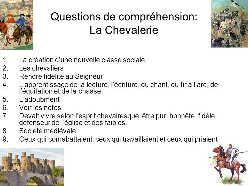 Questions de compréhension: La Chevalerie 1.La création dune nouvelle classe sociale. 2.Les chevaliers 3.Rendre fidelité au Seigneur 4.Lapprentissage