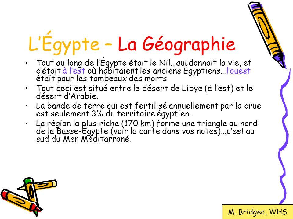 LÉgypte – La géographie Région la plus fertile Basse- Égypte Haute- Égypte M.
